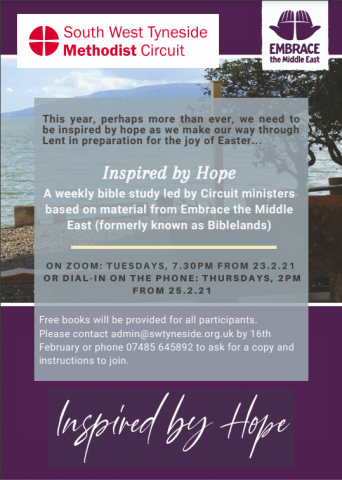 inspired by hope, bible study, lent, methodist, south west tyneside circuit