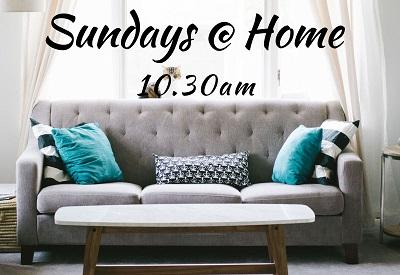 Image of sofa with text reading 'Sundays @ Home 10.30am'